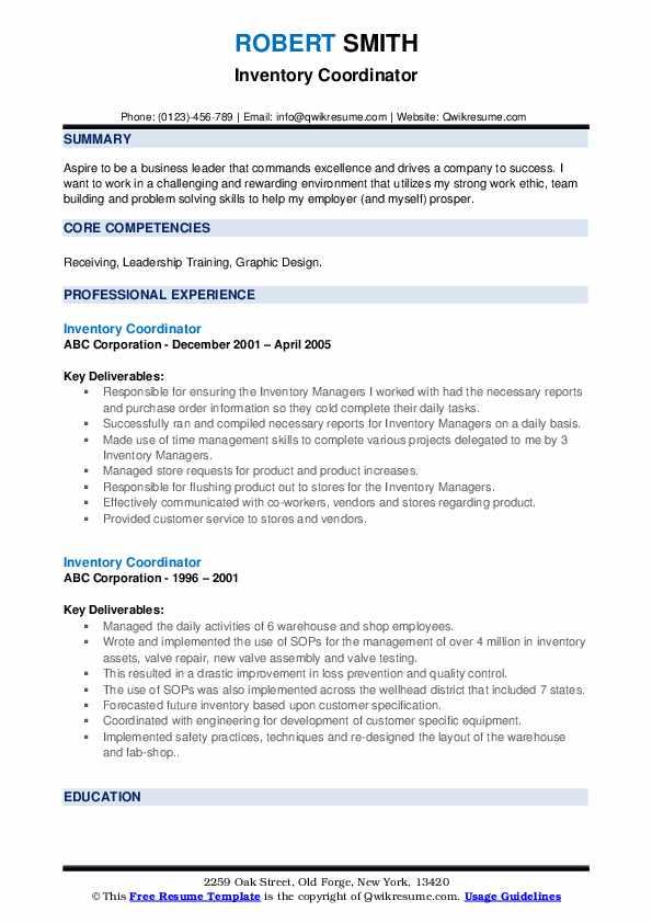 Inventory Coordinator Resume example