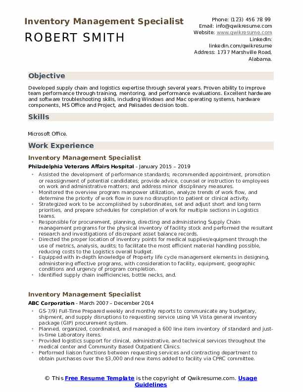 Inventory Management Specialist Resume Example