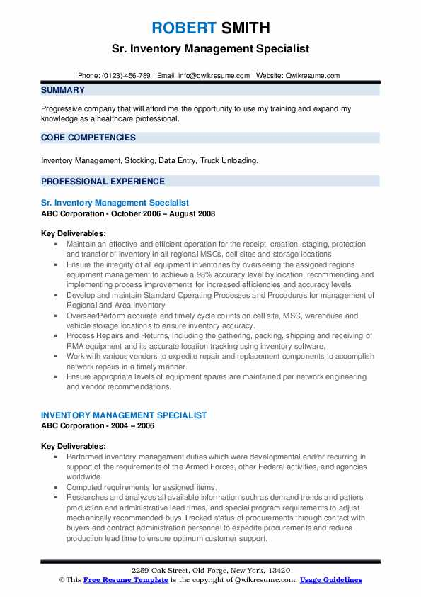Sr. Inventory Management Specialist Resume Format