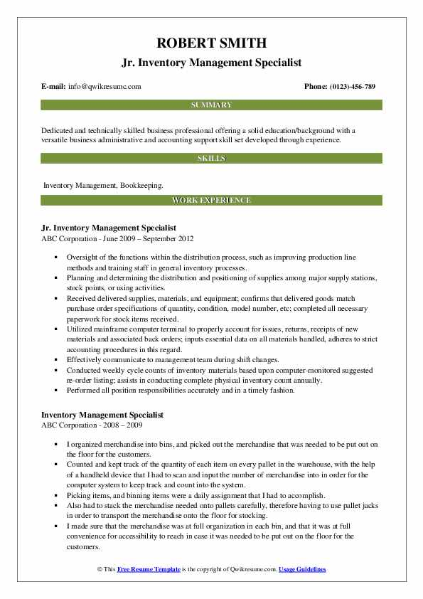 Jr. Inventory Management Specialist Resume Example