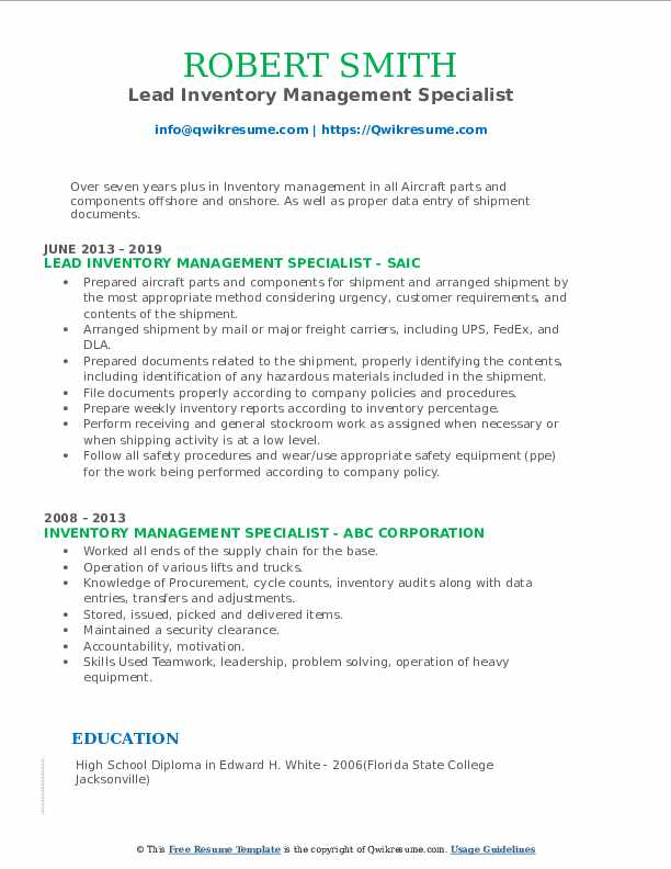 Lead Inventory Management Specialist Resume Model