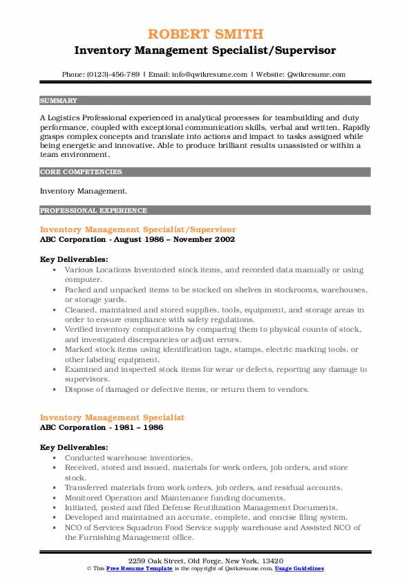Inventory Management Specialist/Supervisor Resume Example