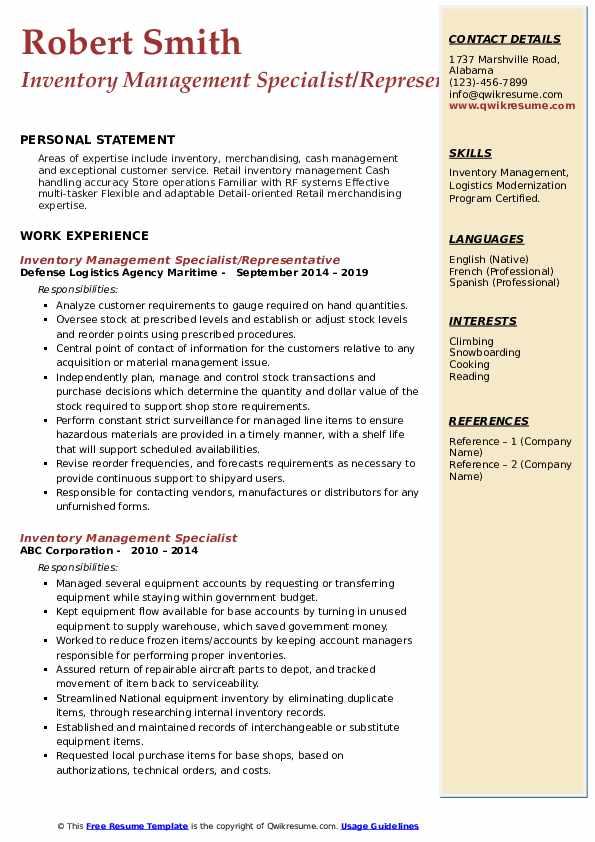 Inventory Management Specialist/Representative Resume Template