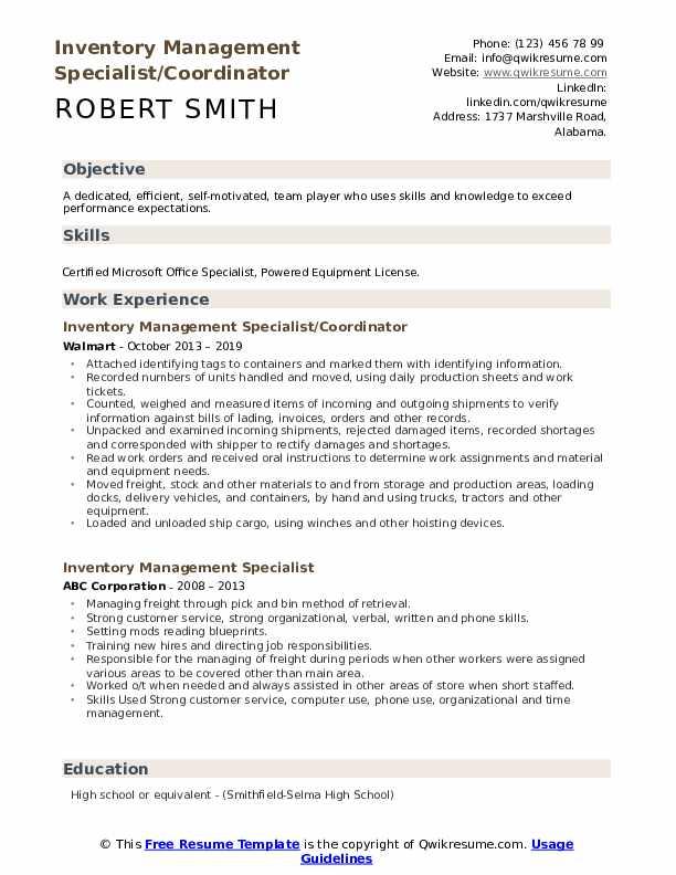 Inventory Management Specialist/Coordinator Resume Format