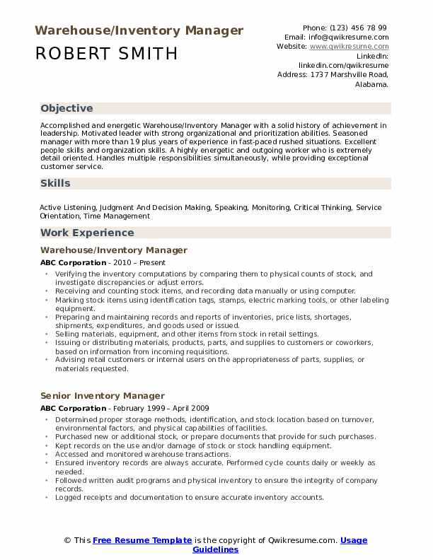 Warehouse/Inventory Manager Resume Model