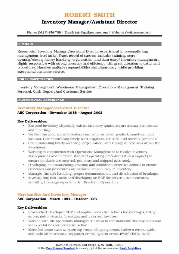 Inventory Manager/Assistant Director Resume Model