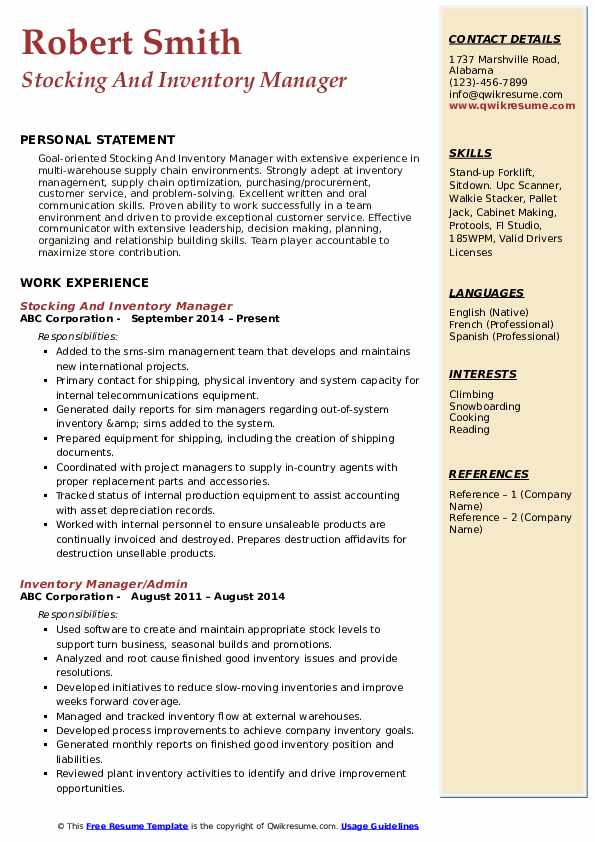 Stocking And Inventory Manager Resume Sample