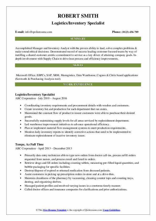 Logistics/Inventory Specialist Resume Model