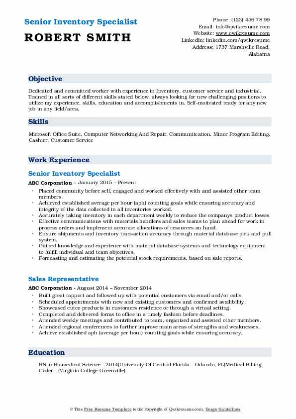 Senior Inventory Specialist Resume Template