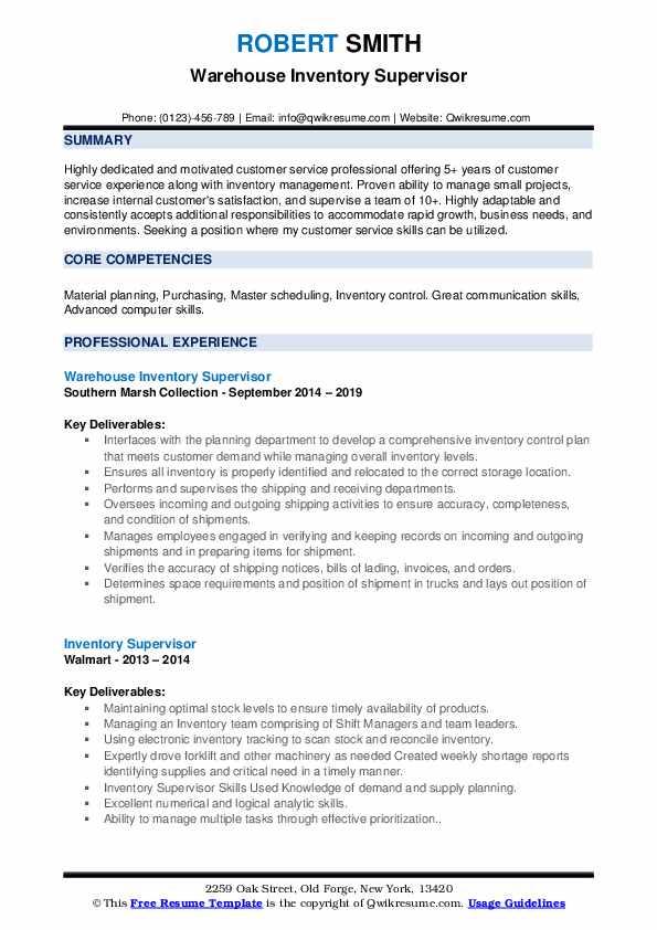 Warehouse Inventory Supervisor Resume Model