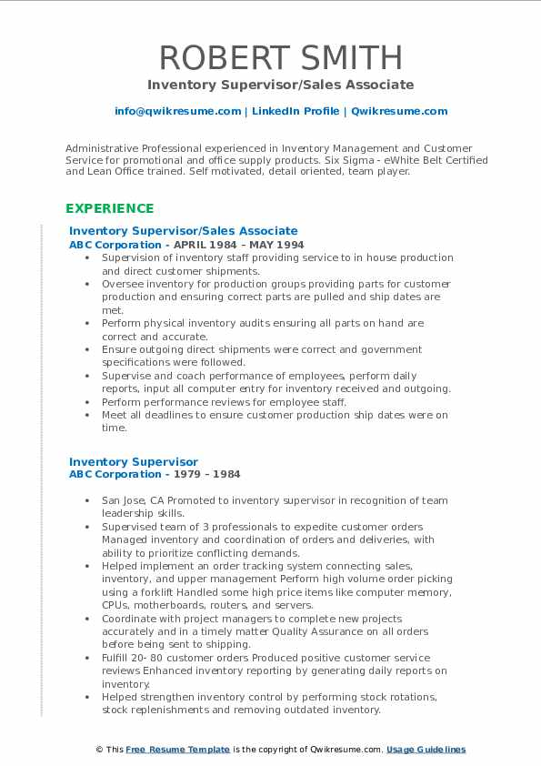 Inventory Supervisor/Sales Associate Resume Format