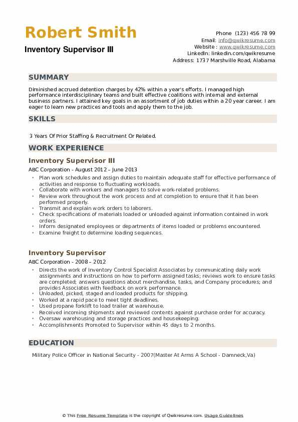 Inventory Supervisor III Resume Format
