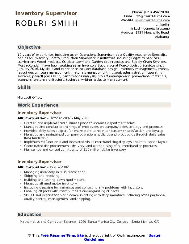 Inventory Supervisor Resume example