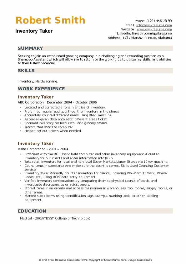 Inventory Taker Resume example