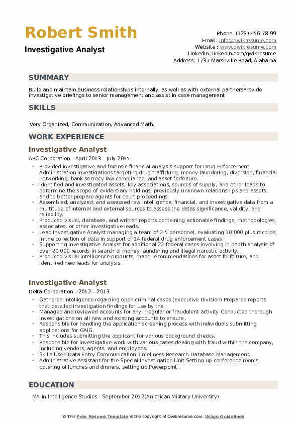 Investigative Analyst Resume example