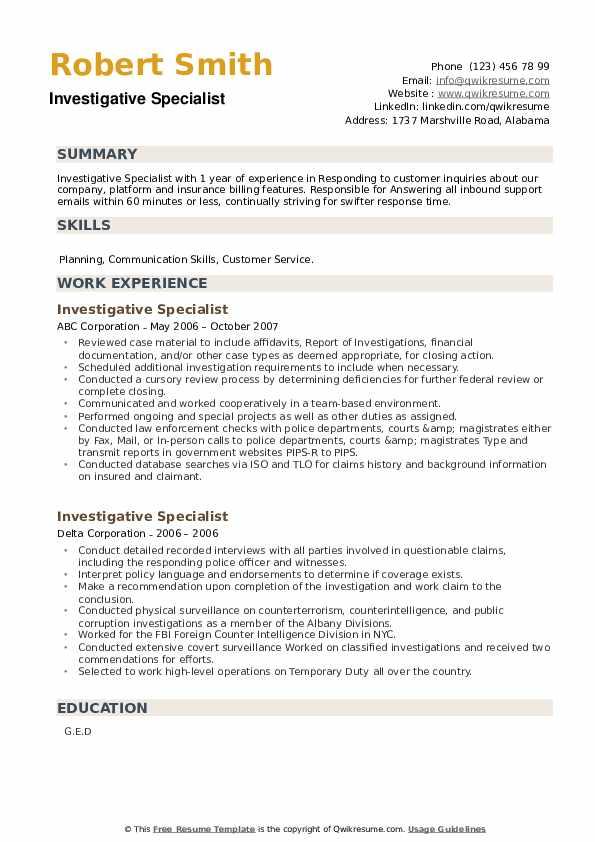 Investigative Specialist Resume example