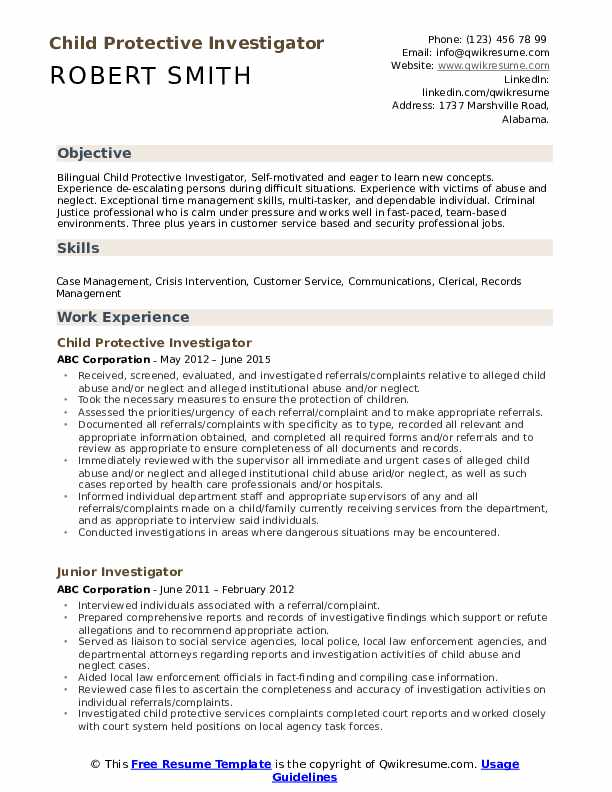 Child Protective Investigator Resume Format