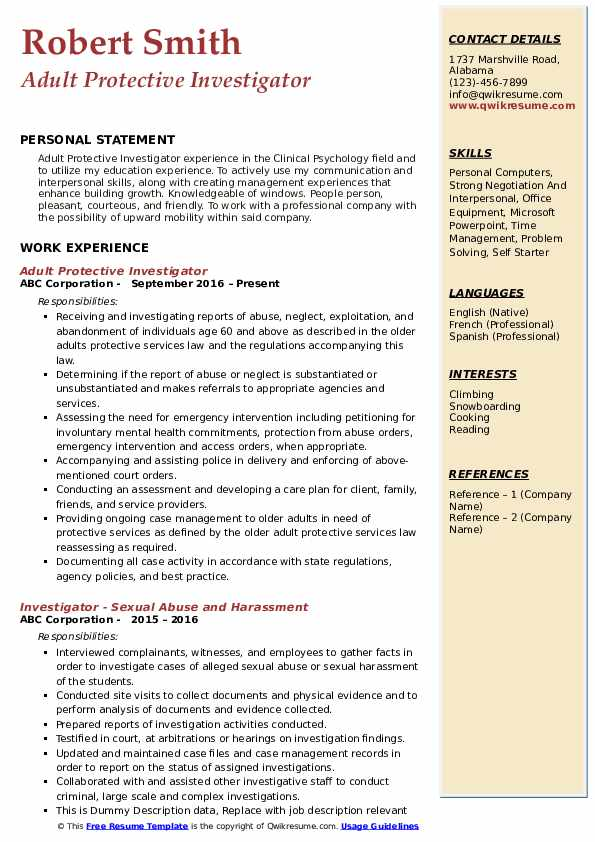 Adult Protective Investigator Resume Model