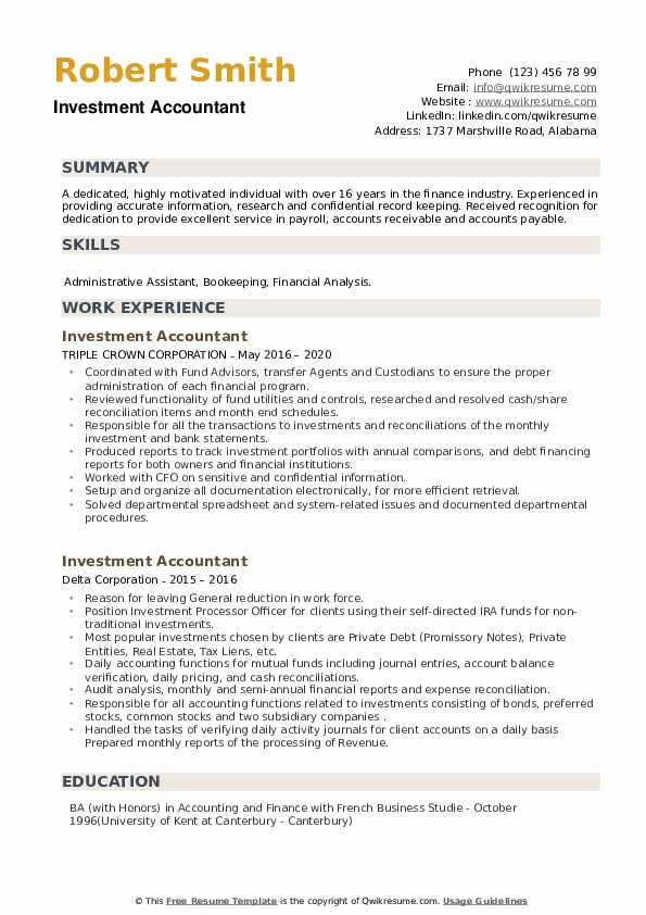 Investment Accountant Resume example