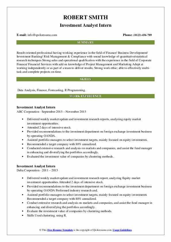 investment analyst intern resume samples  qwikresume