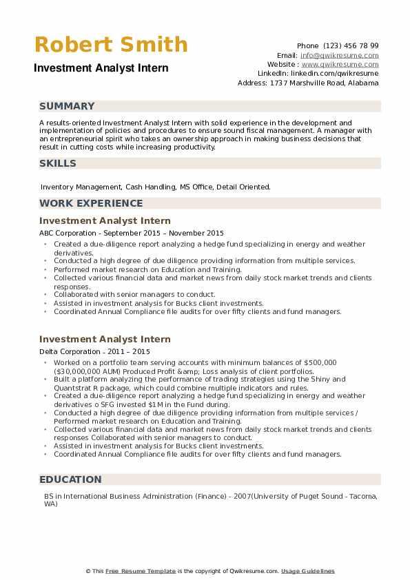 Investment Analyst Intern Resume example