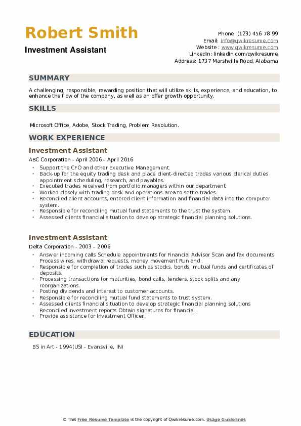 Investment Assistant Resume example