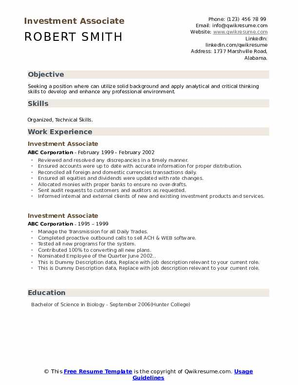 Investment Associate Resume example