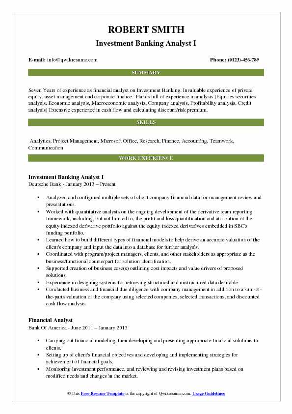 Investment Banking Analyst I Resume Sample