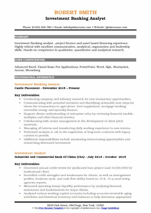 Investment Banking Analyst Resume Sample  Investment Analyst Resume