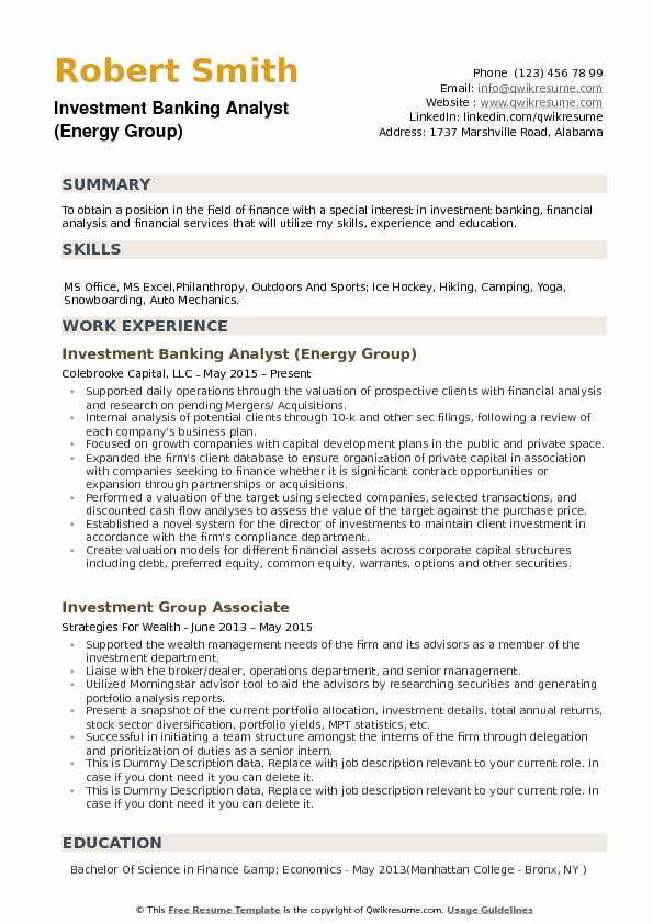 Executive summary investment banking resume best forex robots tested synonyms