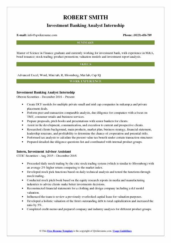 Investment Banking Analyst Internship Resume Format