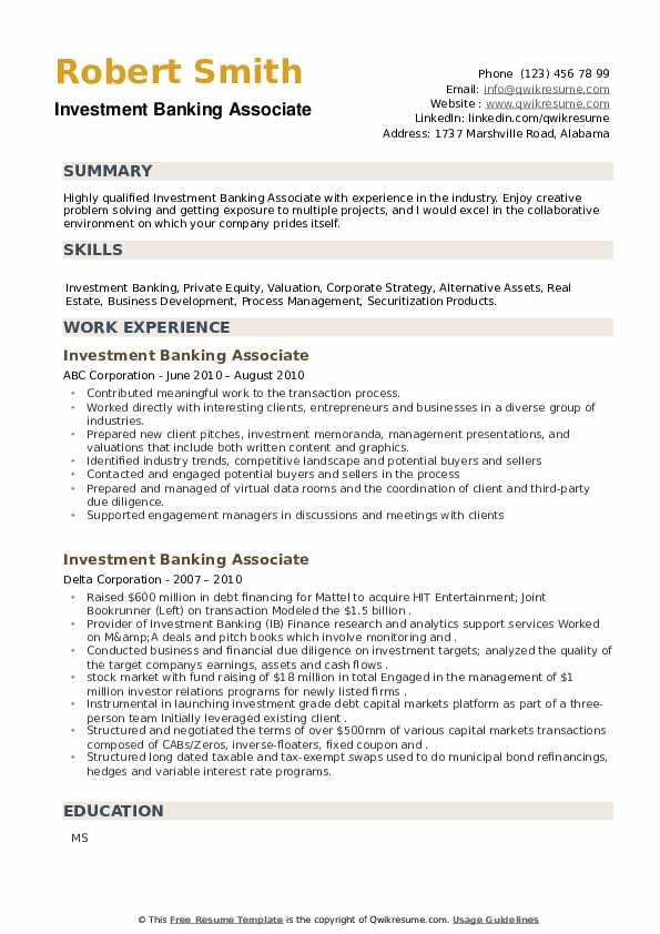 Investment Banking Associate Resume example