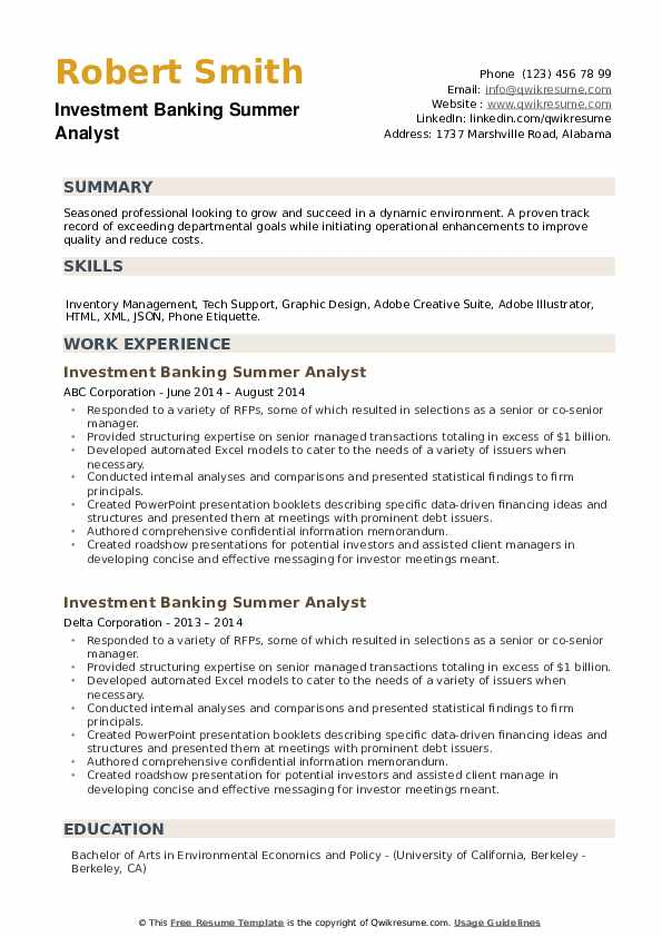 Investment Banking Summer Analyst Resume example