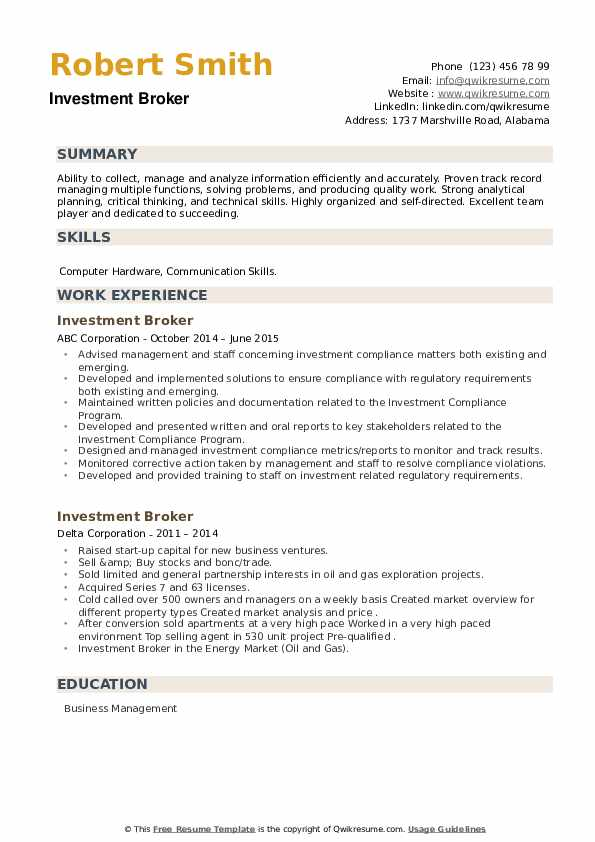 Investment Broker Resume example