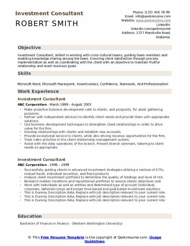 Investment Consultant Resume example