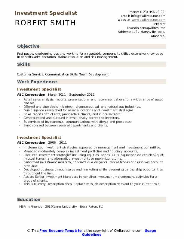 Investment Specialist Resume example
