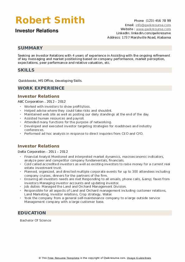 Investor Relations Resume example