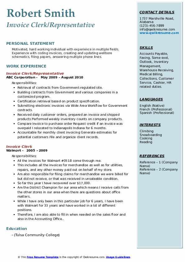 invoice clerk resume samples