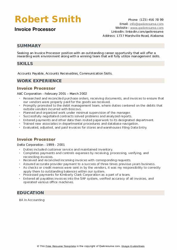 Invoice Processor Resume example