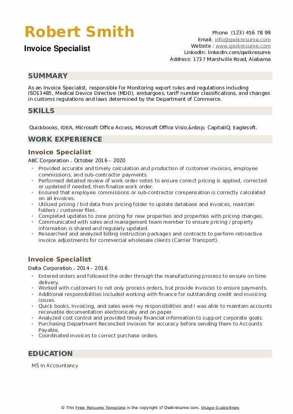 Invoice Specialist Resume example