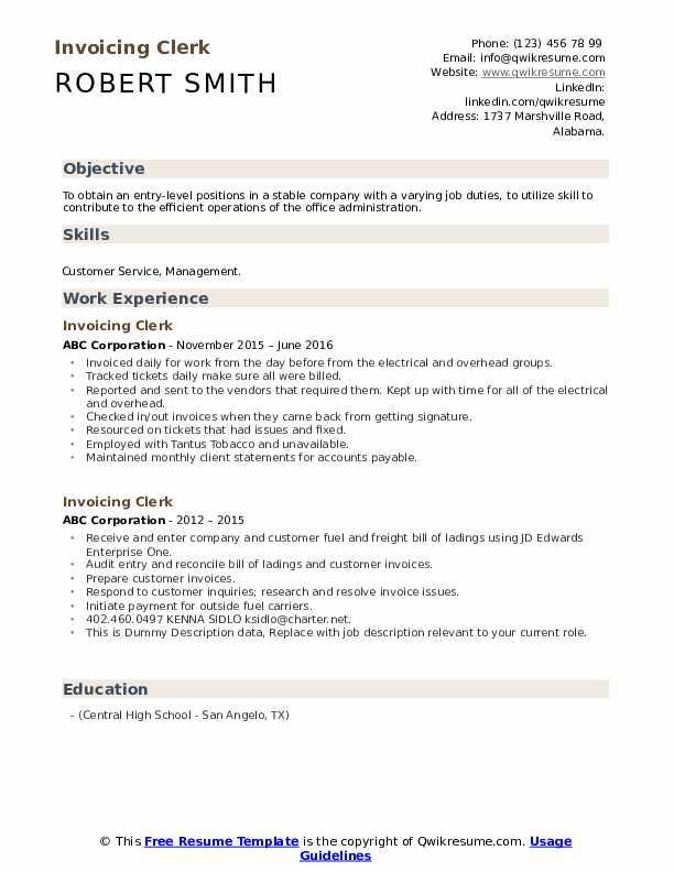 Resume for billing clerk high school intern resume sample