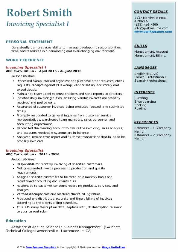 invoicing specialist resume samples