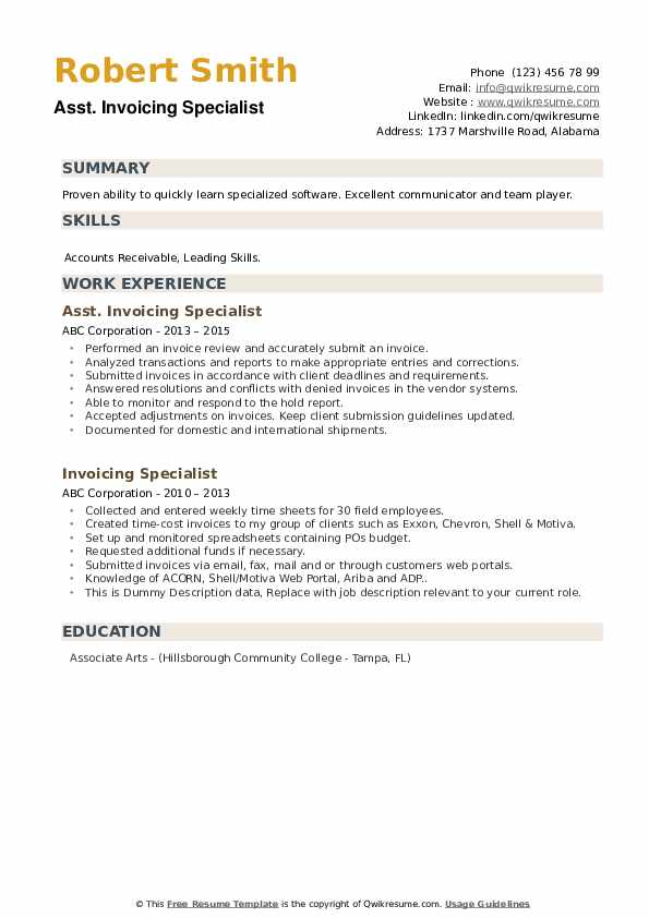 Invoicing Specialist Resume Samples | QwikResume