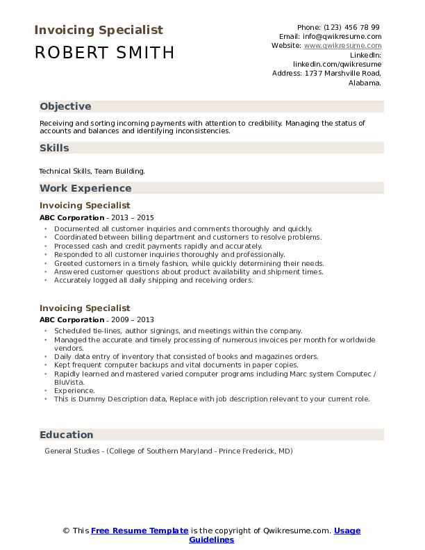Invoicing Specialist Resume example