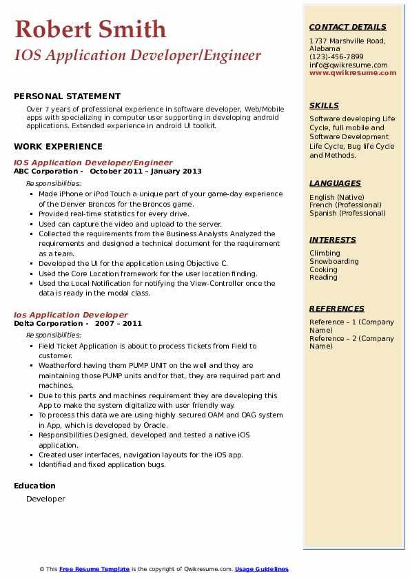 ios application developer resume samples  qwikresume