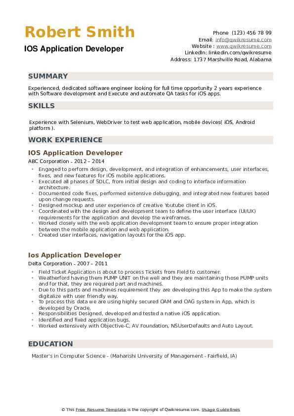 IOS Application Developer Resume example