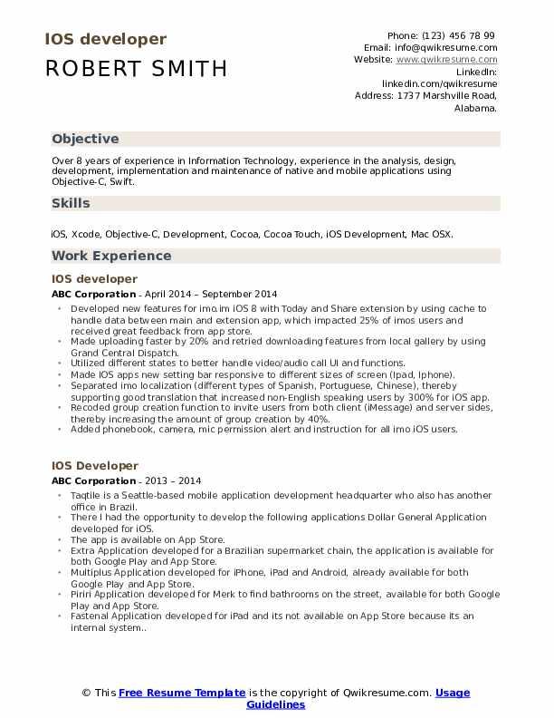 IOS developer Resume Sample