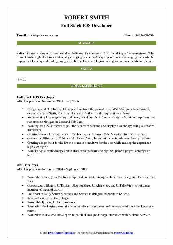 Full Stack IOS Developer Resume Template