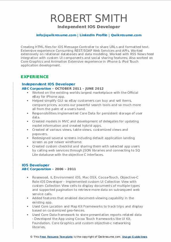Independent IOS Developer Resume Format