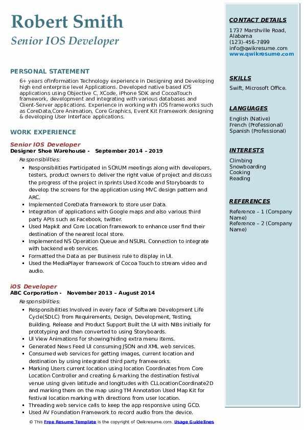 Senior IOS Developer Resume Model